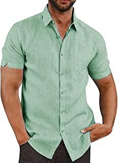 پیراهن کتانی آستین کوتاه دکمه ای JEKAOYI برای مردان تابستانی تابستانی پنبه ای گاه به گاه