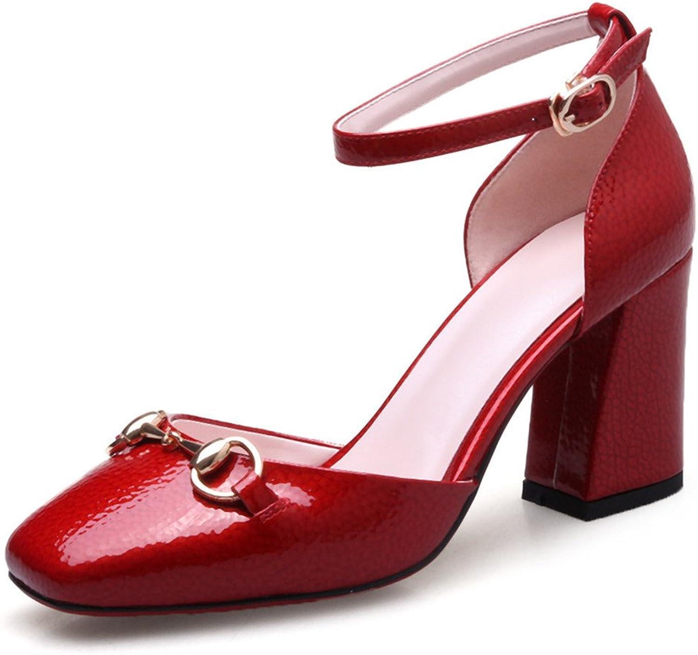 Nine Seven Genuine Leather Women's Square Toe Chunky Heel D'orsay Handmade Elegant Pumps