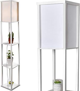YU YUSING Stehleuchte Stehlampe Holz Regal, 1,6m Innenbeleuchtung Leselampe für Schlafzimmer und Wohnzimmer, Weiß E27
