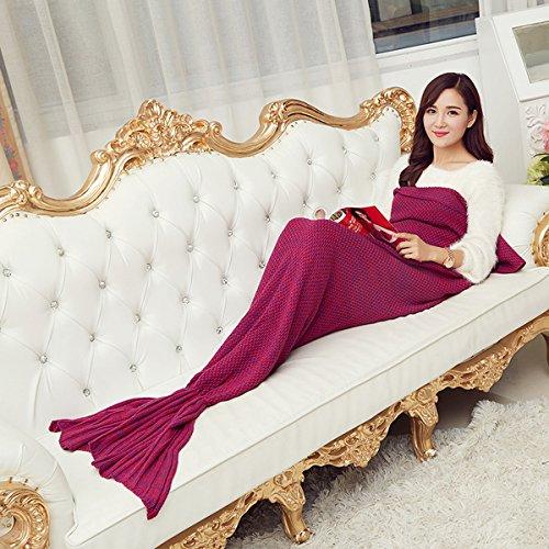 Inovey 180X90Cm garen breien zeemeermin staart deken kasjmies-achtige warme super zachte slaapzak bed mat - rood