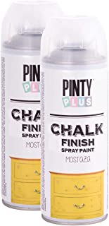 Chalk Finish Spray Paint, Water Based, Eco-Friendly, Superior One Coat Coverage, Dries Fast, PintyPlus, 13.5 oz, 2 Pk Mustard Yellow