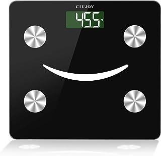 Ciujoy Báscula digital de grasa corporal, con Bluetooth, análisis corporal con aplicación y 23 datos corporales para grasa corporal, IMC, masa muscular, proteína, BMR
