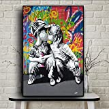 MhY Graffiti Street Art Abstract Girl Kiss Boy Pintura en Lienzo Poster e Impresiones Cuadros Banksy Pop Wall Art Picture for Living-60x90cm sin Marco