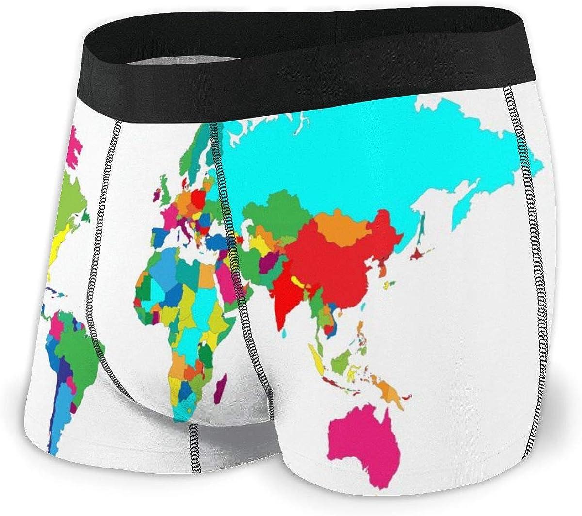 Mens Boxer Briefs Vintage Retro World Map Boys Trunks Underwear Short Leg Breathable Man