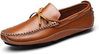 メンズレザーローファーシューズ 夏のメンズ レザーカジュアルシューズ 通気性のフラットヒールの靴 ローファーシューズ (色 : 褐色, サイズ : 25.5 cm)