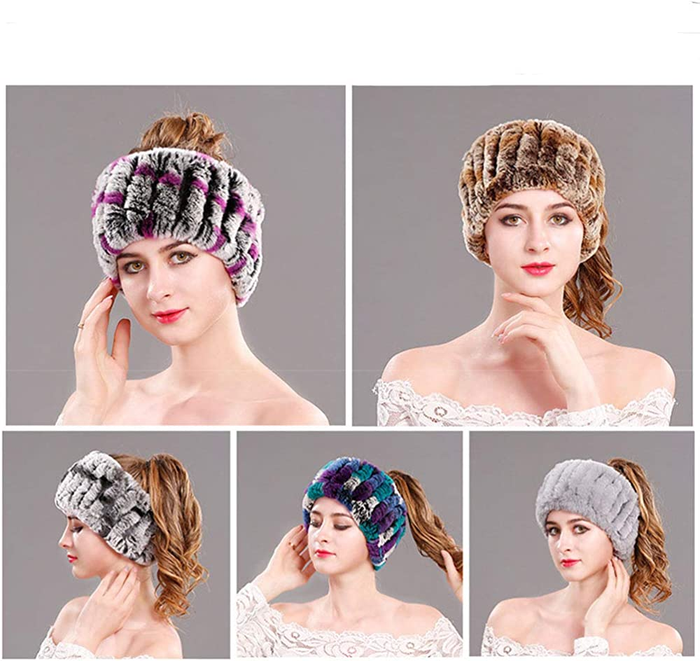 YYFURR Faux Fur Headband with Elastic Stretch Plush Fur Hat Winter Ear Warmer Earmuff Ski Cold Weather Caps
