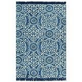 GJEFEGS vidaXL Kelim-Teppich Baumwolle 160x230 cm mit Muster Blau