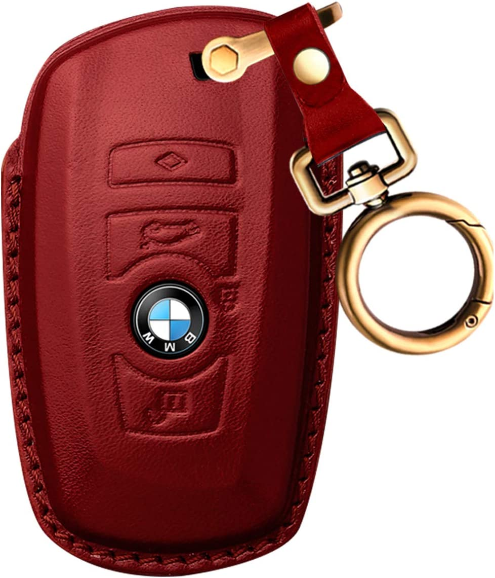 Key Fob Case Genuine Leather Keychain with Key Chain Smart Key Protecter Case with 4 Buttons Compatible with BMW X1,X2,X3,X4,X5,X6,5 Series 7series-Black Intermerge for BMW Key Fob Cover