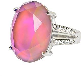 Fun Jewels 优雅多色变色脸椭圆形水晶石黄铜心情戒指尺寸可调