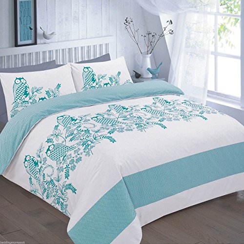 T&A Traders Polycotton Animal Print Owl Duvet Quilt Covers Set With Matching Pillow Cases 4 Standard UK Sizes (Super King, Owl Teal)