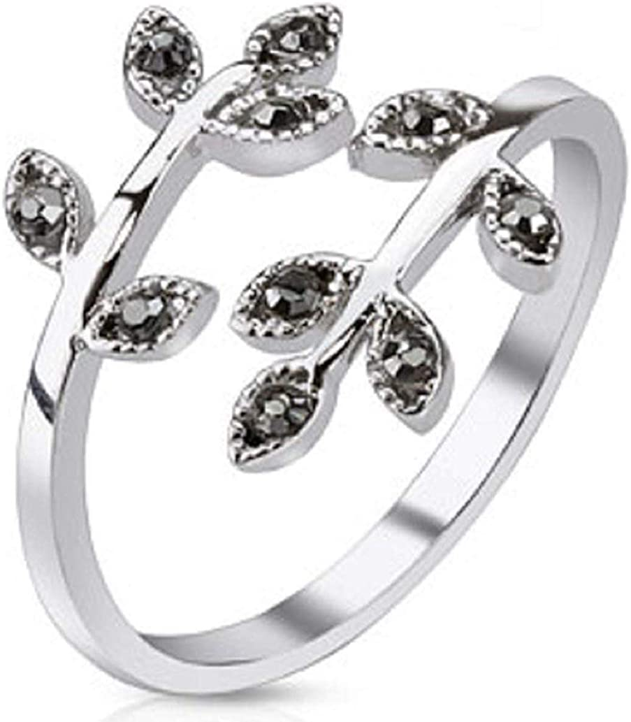 Covet Jewelry Leaves with Paved Gems Adjustable Rhodium Plated Brass Mid-Ring/Toe Ring (Black)