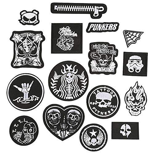 Daimay 16 PCS Hierro en parches Apliques bordados Pegatinas de parche bordadas en blanco y negro para Ropa de decoración, mochila, gorras, jeans, zapatos, chaqueta, bolso, etc.