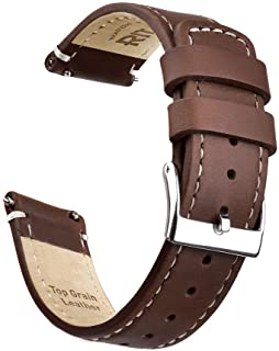 Quick Release Leather Watch Band Top Grain Leather Watch Strap 18mm 19mm 20mm 21mm 22mm 23mm or 24mm for Men and Women
