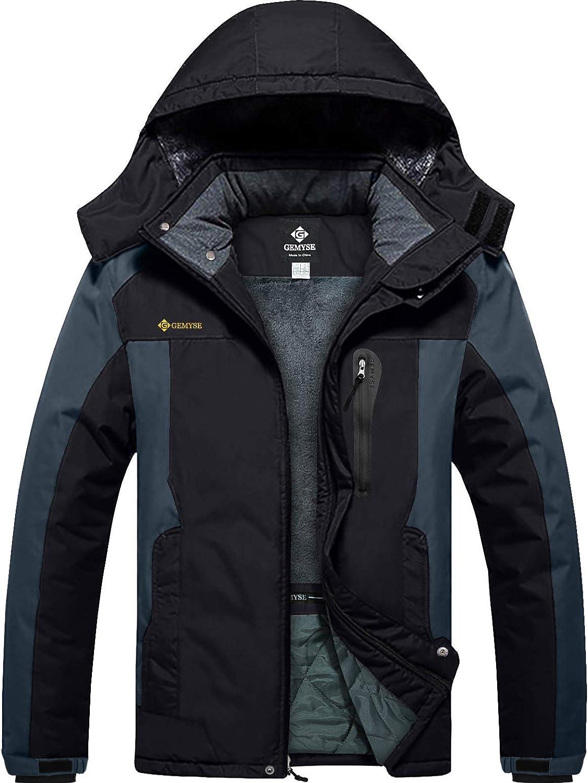 GEMYSE Chaqueta de Esquí Impermeable de Montaña para Hombre Abrigo de Invierno de Lana Antiviento con Capucha