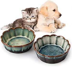 SIDUCAL Ceramic Cat Bowls,5 Inch Cat Bowls for Food and Water,Non-Slip Cute Pet Feeding Bowls for Cats and Small Dogs,Nice Glazed,Oven Microwave Dishwasher Safe(2 Packs)