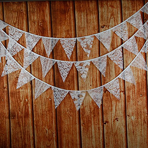 Veewon Lace Bunting Garlands 10 Feet Weinlese -Gewebe-Flagge Banner Wimpel Flaggen Stoff Shabby Chic Hochzeit Dekoration (Weiß)