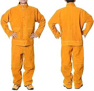 ATGTAOS Workwear Soudage Vêtements De Protection en Cuir De Vache Soudeur Soudure Soudure Isolation Anti-Brûlure Tenue De ...