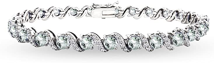 Sterling Silver Genuine, Created or Simulated Gemstone Round S Design Tennis Bracelet