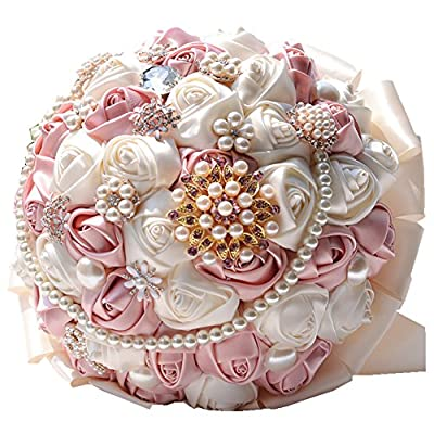 Rose Flower Wedding Bouquet Brooch Crystal Pearls Silk Bridal Flowers (Pink)