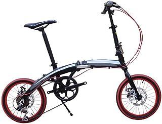 GHGJU Bici Plegable De Aluminio De La Bici De Los Niños Bici Ultra Ligera De 16-Inch Adulto De La Bici De Los Adultos,Blac...
