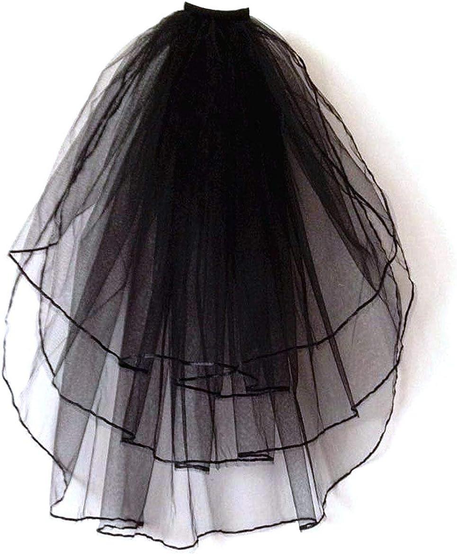 Patty Both Black Ribbon Edge Bridal Wedding Veils with Comb (black 3T)