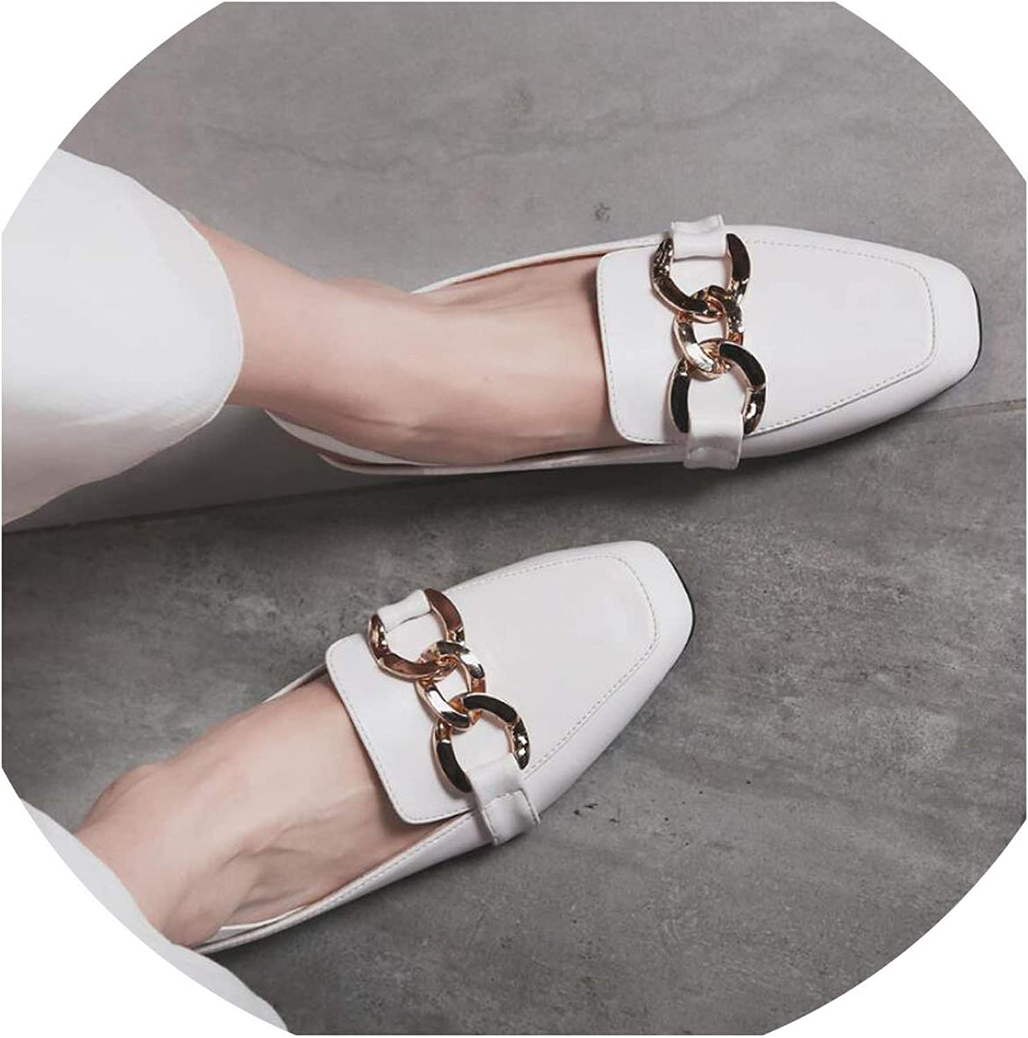 Betterluse Summer Slippers Woman Mules shoes Sandals Tassel Chains Metal Buckle Square Toe Back Strap Mules