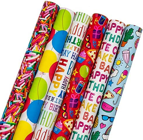 B THERE Birthday Gift Wrap Wrapping Paper for Boys Girls Adults 6 Cute Funny Different Designs product image
