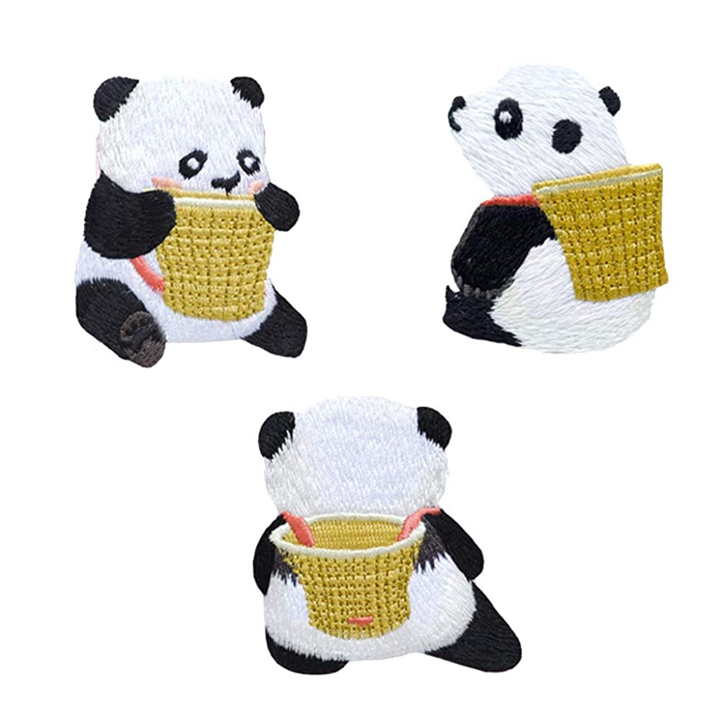 3 Pcs Cute Panda Iron On Sew On Embroidered Patch, Applique Patch, Cool Patches for Men, Women, Boys, Girls, Kids