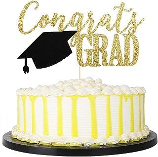PALASASA Congrats Grad Cake Topper, 2020 Graduate Party Decorations (Gold 6.6inch)
