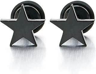 Pair Stainless Steel Black Plain Flat Star Stud Earrings for Man Women, Screw Back, 2pcs