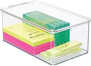mDesign bac de rangement pour accessoires de bureau – panier de rangement empilable pour armoire en plastique – bac en pla...