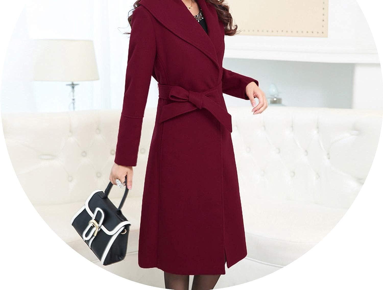 Elegant Slim Long Woolen Winter Coats Solid Pockets Wool Coat and Jacket TurnDown Collar Office Ladies Coats
