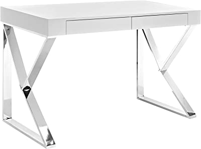 Modway Adjacent Contemporary Modern Office Desk With Metallic Legs in White