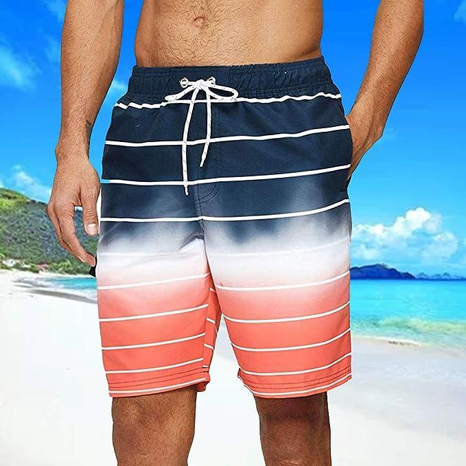 Vertvie Homme Short de Bain Plage Hawaienne S/échage Rapide Boardshorts Bermudas Casual Imprim/é Pantalon Court Casual Respirant avec Cordon de Serrage