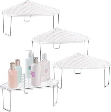 mDesign Juego de 4 estanterías rinconeras para baño – Estantes de baño de pie para el Lavabo – De plástico de Calidad – Organ