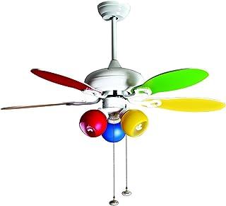 PURLINE Ventilador de Techo con luz, diseño Infantil, 5 Palas Reversibles, diámetro 107 cm, Multicolor