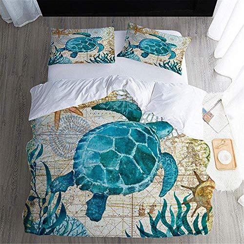 Juego de funda de edredón con 2 fundas de almohada, ropa de cama de tres piezas, juego de funda de edredón con estampado en 3D de delfín de mar