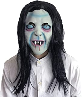 Halloween Mask Creepy Mask Party Costume Scary Zombie Horror Adult Size Men Women Big Head with Long Hair Demon Devil Mask
