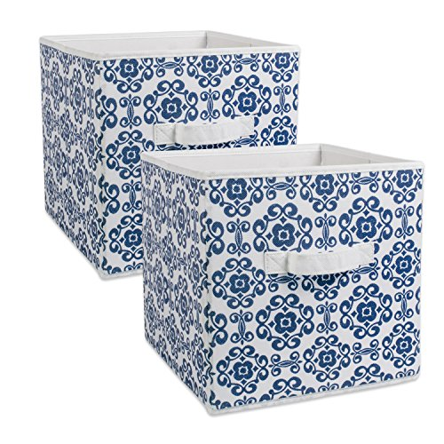 DII Foldable Fabric Storage Bins for Nursery Offices Home Containers are Made to Fit Standard Cube Organizers Nautical Blue Small