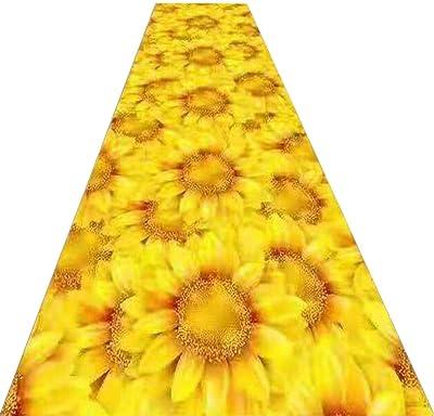 YANZHEN Hallway Runner Rugs Non-Slip Water Absorption Corridor Carpet Door Mat Sunflower Pattern Polyester, Multi-Size, Customizable (Color : Yellow, Size : 0.6 x 1m)