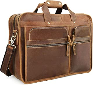 "TIDING Full Grain Leather Briefcase for Men Business 15.6"" Laptop Bag Work Handbag Messenger Bag"