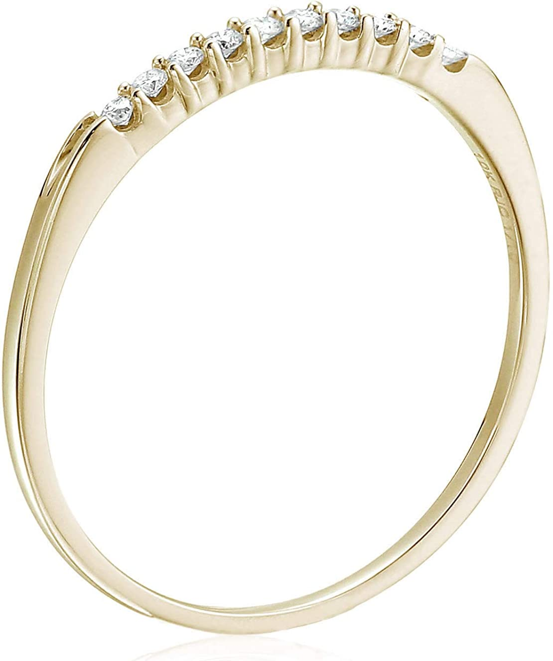 Vir Jewels 1/10 cttw Petite Diamond Wedding Band in 10K White Gold Prong Set