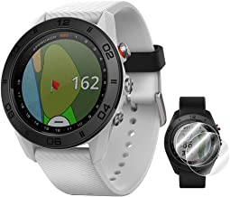 Garmin Approach S60 Golf Watch White with White Band (010-01702-01) + Deco Essentials Approach S60 Screen Protector 2 Pack