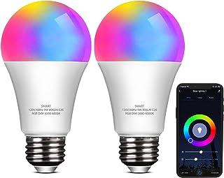 ELECWISH WIFIスマートLED電球 60W相当 810lm 広配光 Alexa/Google home対応 アレクサ 音声コントロール アプリ制御 調光調色 RGB1600万色 省エネ E26 PSE認証 (2枚)