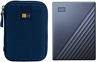 WD 2TB My Passport Ultra USB 3.0 Type-C Slim Portable External Hard Drive (Blue) + Compact Hard Drive Case (Navy Blue)