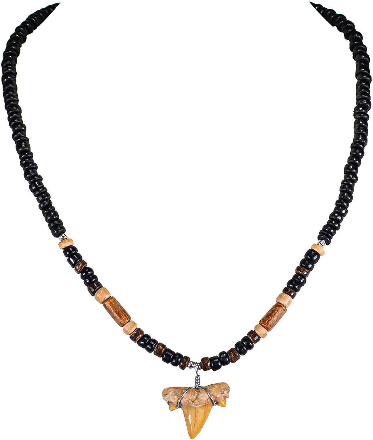 BlueRica Shark Tooth Pendant on Wood Beads Necklace (2S)