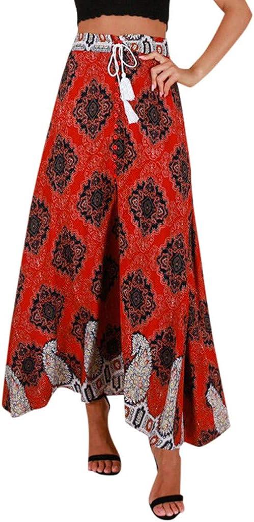 Jiusike Womens Boho High Waist Split Front Button Skirt Summer Casual Beach Lace up Long Dress Retro Floral Maxi Skirt