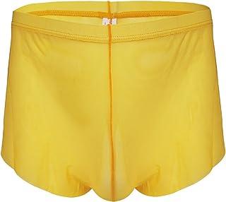 Alvivi Men's Breathable Sheer Mesh Semi See Through Boxer Shorts Split Side Trunks Underwear