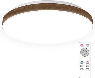 Led シーリングライト 木目調 4畳 6畳 照明器具 天井 調光 調色 18W 2200lm リモコン付き 明るさメモリ機能 30分/60分 タイマー機能 常夜灯 リビング 和室 部屋 台所 洗面所 寝室照明 (ウォールナット色)
