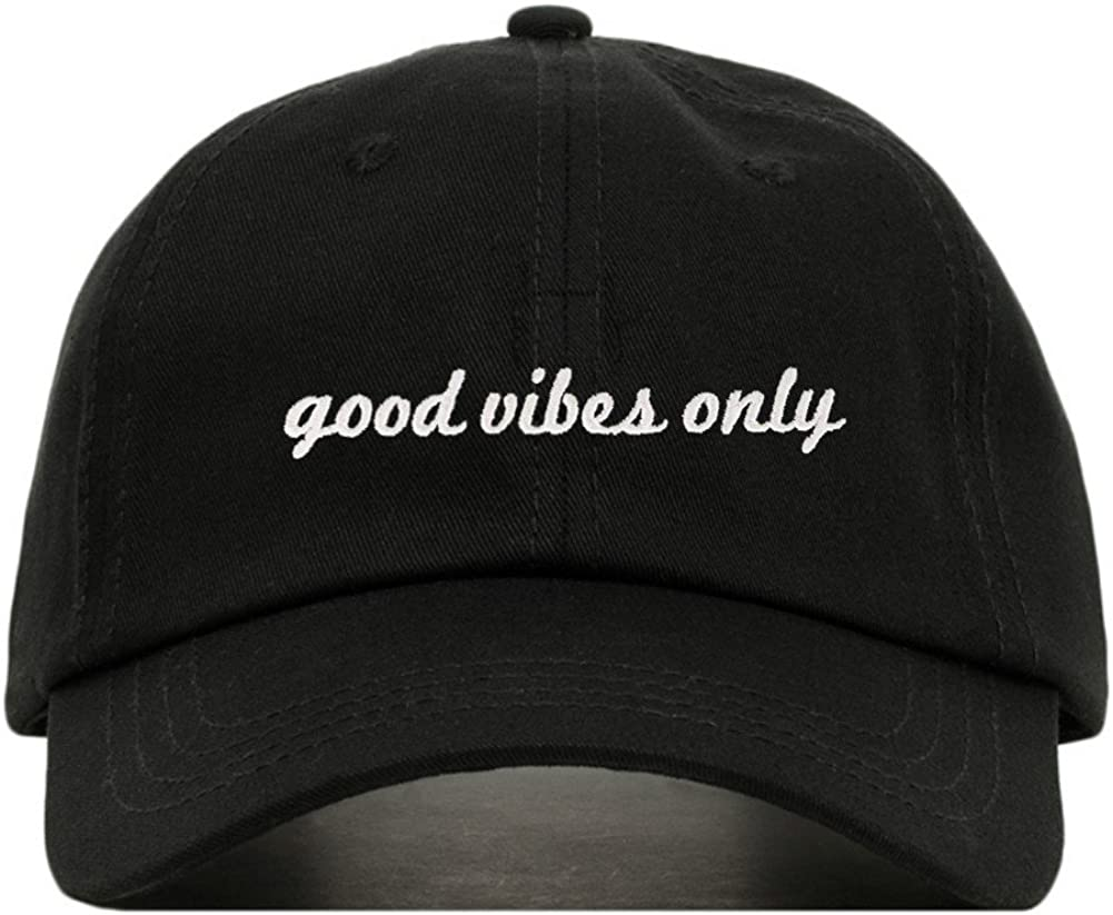 Good Vibes Only Baseball Hat, Embroidered Dad Cap, Unstructured Soft Cotton, Adjustable Strap Back (Multiple Colors)